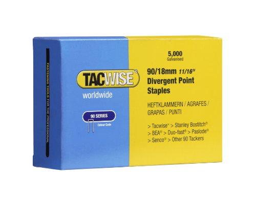 Tacwise 0312 Boîte de 5000 Agrafes à couronne étroite galvanisées 18 mm Type 90