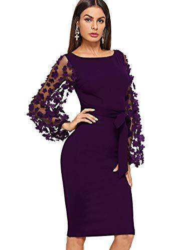 DIDK Damen Netz Figurbetontes Kleid Schlauch Kleider mit Blumen Violett U-Boot Ausschnitt M -