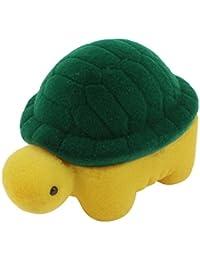 Caja de anillo - TOOGOO(R)caja de anillo de regalo de boda de diseno en forma de tortuga recubierta de franela de color amarillo y verde
