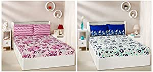 Amazon Brand - Solimo Jasmine Zest 144 TC 100% Cotton Double Bedsheet with 2 Pillow Covers, Blue + Floral Breeze 144 TC 100% Cotton Double Bedsheet with 2 Pillow Covers, Purple Combo
