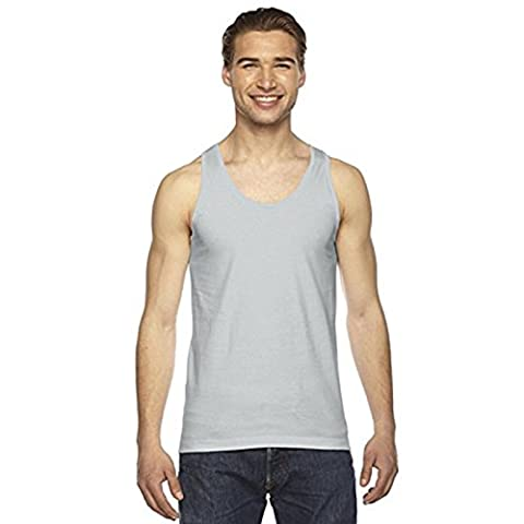 Mens Jersey Tank Fine (2408) Binding At Neck and Armholes American Apparel (X-Large, New Silver)