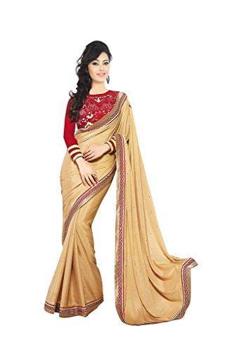 Amar Sarees women georgette embroidered black orange sarees with blouse