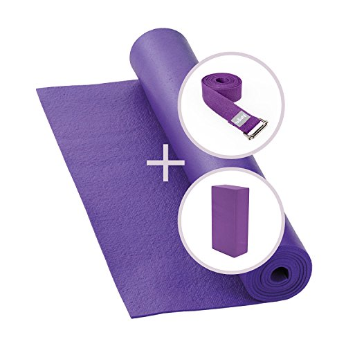 *Yogamatte mit Yoga Block und Yogagurt*