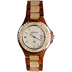 Wooden Watches - Kingwo Retro Watches BEWELL Wooden Watch Men Quartz with Luminous Hands 30M Water Resistance(Maple Wood)