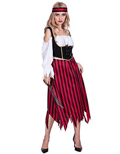 Idollcg kostum,Halloween Kostüm Cosplay Kostüm Halloween Party Kostüme Frauen Weichen Stoff Pirat Gestreiften Kleid Sexy Kostüme Halloween Prime kostum (Color : Red, Size : One size) (Eine Lady Pirate Kostüm)