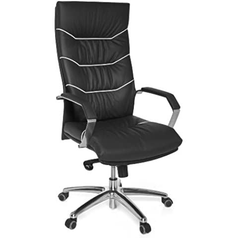 Amstyle Design Ferrol XXL - Silla de escritorio (cuero auténtico, 5 posiciones, capacidad de carga 150 kg), color negro