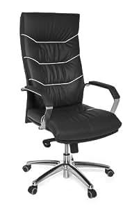 Amstyle Design AMSTYLE Bürostuhl FERROL Echt-Leder schwarz Schreibtischstuhl   Chefsessel mit Kopfstütze & Multiblockmechanik   Design Drehstuhl verstellbar & hohe Rückenlehne