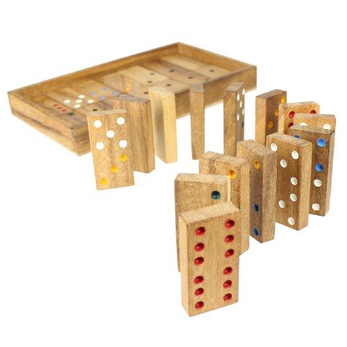 Dominó en caja de madera fina - 20 cm x 12 cm x 2 cm