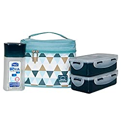 Lock&Lock Plastic Lunch Box Set with Bag, 3-Pieces, Multicolour (HPL758S3AB)