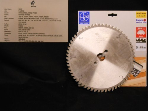 OBI LUX 117588 Profi Plus HM-Kappsägeblatt 250 x 30/16 mm, 60 Z