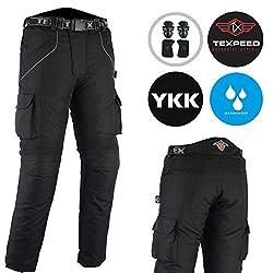 Texpeed Herren Motorradhose mit Protektoren - Wasserdicht - Textil - Cordura - Schwarz - Alle Größen