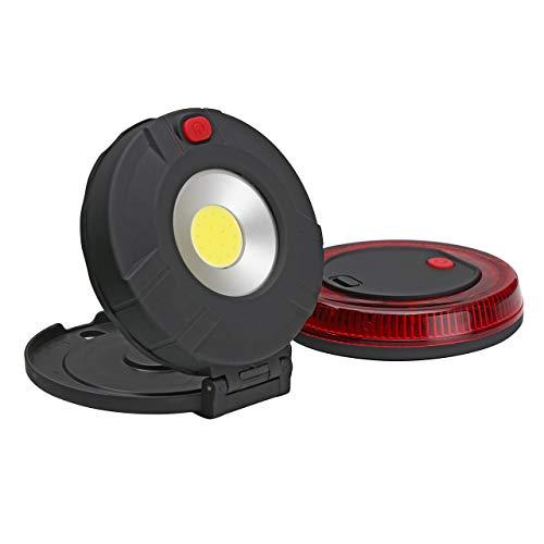 ACBungji Warnblinkleuchte LED Warnleuchte Warnlicht Akku Blinklicht Rundumleuchte Rot COB Arbeitsleuchte mit Magnet für Auto Notfall Pannenhilfe ideal als Ergänzung zum Warndreieck (2 in 1)