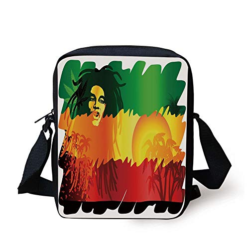Rasta,Iconic Reggae Music Singer Abstract Design with Sun and Palm Trees Decorative,Green Yellow Red and Orange Print Kids Crossbody Messenger Bag Purse