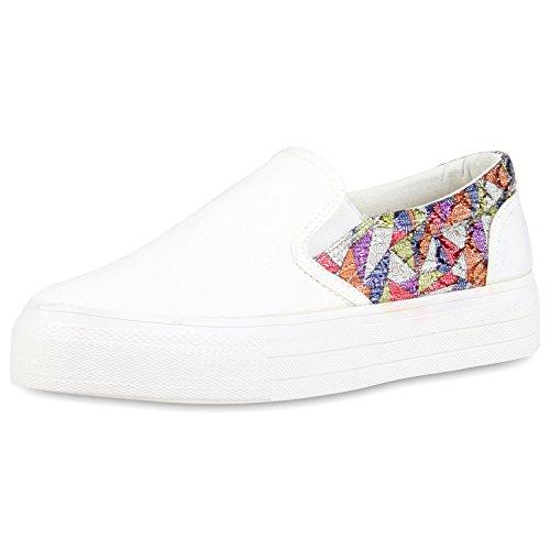 Modische Damen Sneakers | Bequeme Slip-ons| Funkelnde Glitzerapplikationen | Angesagte Plateausohle | Gr. 36-41 Weiss Muster