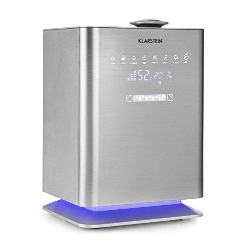 Klarstein Cubix Humidificador de aire • Vaporizador de aire, Ionizador • Deposito de agua de 5,5 litros • Seguro niños • Mando a distancia • 350 ml/h • Silencioso • Plateado