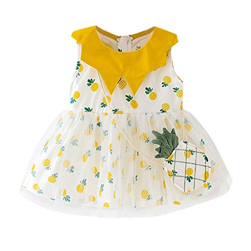 Janly_Top Baby Kleiden,Janly Kind Baby Plaid Frucht gedruckte Partei Prinzessin Dress Clothing (70/6, Gelb)