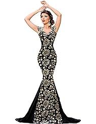 Nuevo Negro y oro flores de sirena vestido de cóctel vestido largo de noche fiesta Prom Vestido Fiesta Vestido Tamaño M UK 10–12