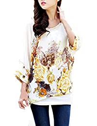 BetterMore Bohemian Floral Batwing Sleeve Plus Chiffon Blouse Womens Loose Off Shoulder T-Shirt Tops