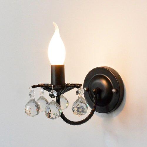 Crystal Wandleuchte Metallic Bunte Wandleuchten Moderne Kerzenlampen Vintage Kerzenhalter Schlafzimmer Bedsid Wandleuchte Gang Wandlaterne ( Color : Black ) Crystal Kerzenhalter Wandleuchte