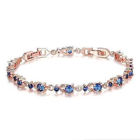 Wostu luxe Slender plaqu¨¦ or rose Bracelet avec Blue Sparkling Cubic Pierres Zircon pour Femmes Filles