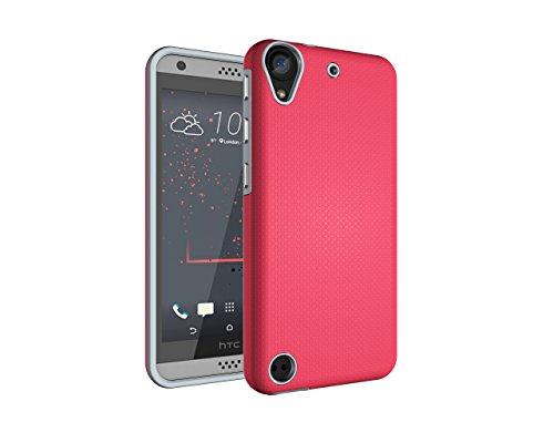 HTC Desire 530 / 630 Hülle, Heavy Duty Blume Harte Rüstung Anti-Kratzer PU Silikon Handyhülle Dual Layer Stoßfest Etui Shockproof Case Cover Kompletter Schutz Tasche Schutzhülle für HTC Desire 530 / 630 (Rote)