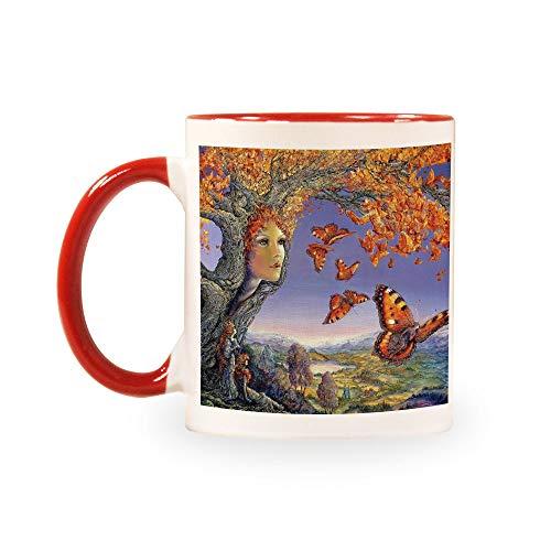 TANGGOOD Lustiger Kaffee Milch Tee Keramiktassen Morgen Tasse Getränke und Hochzeiten, Geburtstage, Vatertag ohne Löffel und Teller Baum Autumn Butterflies Leaves Girl Autumn Leaves Teller