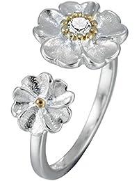 Doble Flor Abierta–Anillo de plata de ley 925joyas de regalo de Navidad Fiesta de cumpleaños