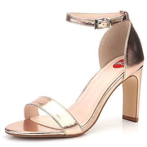 ZPFME Elegante Damen Damen Knöchelriemen Arbeit Abend Hochzeit Block Ferse Sandalen High Heel Open Toe Schuhe,Gold-EU40/250 Elegante Gold Open Toe