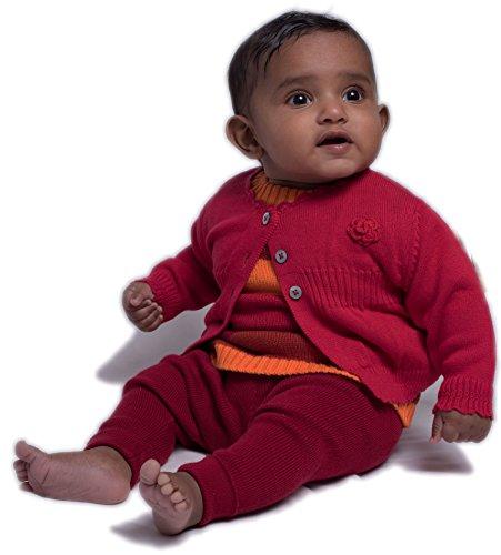 Viddia 100% coton bio, certifié GOTS, Bébé tricot et Crochet pour bébé Fleur et taille côtelée Cardigan (Knit Cardigan Crochet)