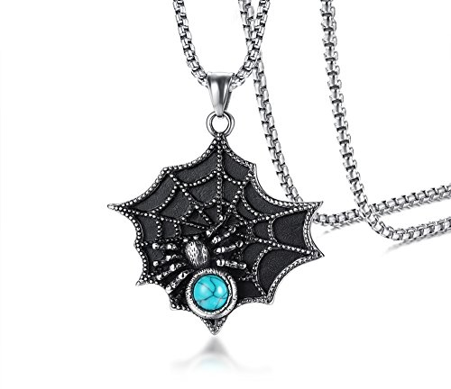 MISAM Retro Black Widow Spider Stainless Steel Pendant Necklace Gothic Blue Stone Male Biker Jewelry