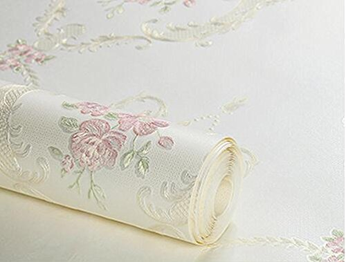 DUOCK Wallpaper 3D geprägtem Non-Woven Wallpaper Luxus Pastorale geblümten Tapeten Wandbild Design Schlafzimmer Wallpaper Designs Home Decor, TJ0101, 53 CM X 10 M