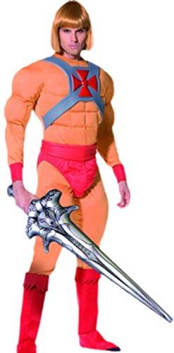 Fancy Ole - Herren Männer Kostüm He-Man mit Muskel-Jumpsuit, Schwert, Gürtel und Überziehstiefeln , M, Orange