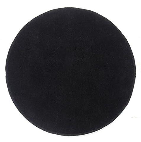 Homescapes Dekorativer Kurzflor Teppich rund schwarz - 70 cm