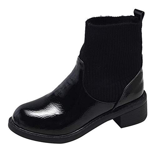 ZHRUI Damen Stiefel, Mode Freizeit Leopard Print Warm Schuhe halten Klassische Leder Chelsea-Stiefeletten Casual Wohnungen Slip On Boots Schuhe Weiche gestrickte Wärmer Stiefel Socken Damen