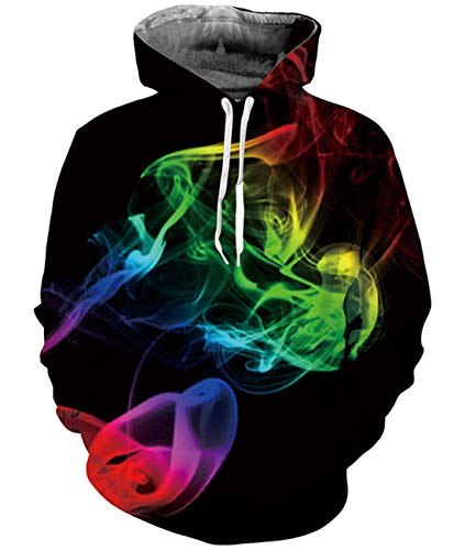 Idgreatim Juniors Halloween Kapuzen Hoodie 3D Graffiti Printed Drawstring Taschen Hoodie Plus Samt