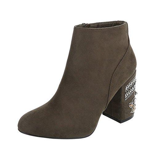 Ital-Design High Heel Stiefeletten Damenschuhe High Heel Stiefeletten Pump High Heels Reißverschluss Stiefeletten Olive V-1-1