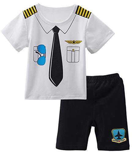 Mombebe Baby Jungen 2 Stücke Piraten Kostüm Shirt Sets (0-3 Monate, Pilot) (Kleinkind Junge Pilot Kostüm)