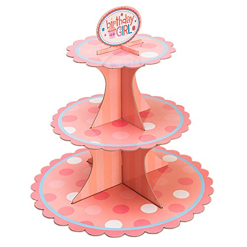 Baker Stand (Alien Storehouse 2 Stück 3-Tier Punkte Cupcake Stand Geburtstag Bakers Cupcake Inhaber Pink)