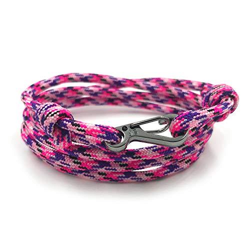 Rock + Shore Pulsera de Cuerda Ajustable con mosquetón para Escalada,