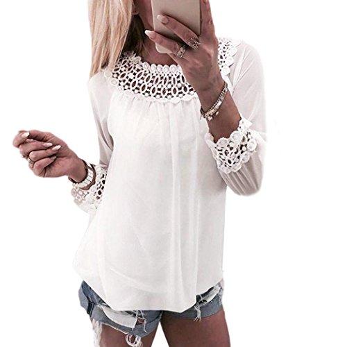 Btruely Damen Tops Sommer Retro Shirt Frau T-Shirt Langarm Bluse Spitze Hemd O-Ausschnitt Oberteile Chiffon Tops (S, Weiß) (Chiffon Baumwolle Rundhalsausschnitt)