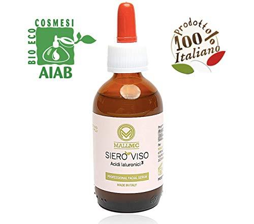 Siero bio con acido ialuronico puro 100%, viso e collo, ingredienti effetto lift, elasticizzante idratante per un effetto anti età, alghe illuminante, echinacea, made in italy, enorme flacone 50ml