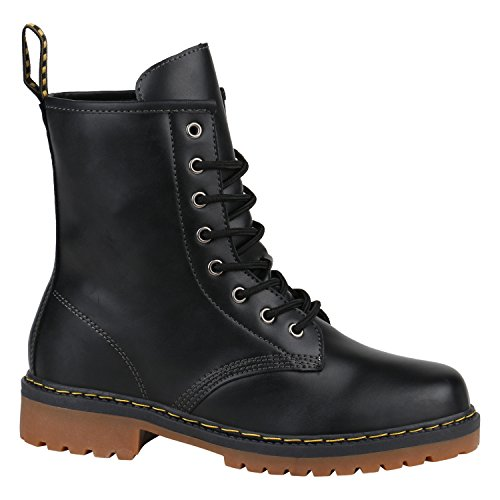 Herren Worker BootsStiefeletten Leder-Optik Camouflage Stiefel Army Look Profilsohle Schnür Schuhe 126332 Schwarz 41 | (Grunge Kostüm Rocker)