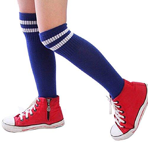 AMISON Kinder Sport Fußball Fußball Socken lang über Knie Hohe Socke Baseball Hockey Blau blau Length:15cm/5.91