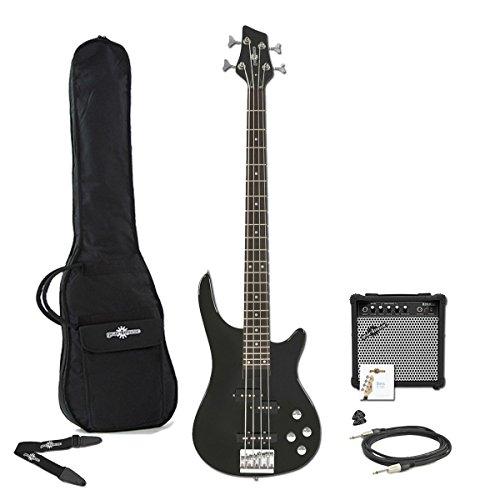 Chicago-Bassgitarre + 15-Watt-Verstärker-Paket schwarz