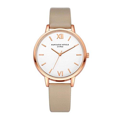 Relojes Mujer,Xinan Reloj de Pulsera Reloj Redondo Cuero Imitación (K