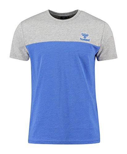 Hummel Maglietta da uomo a maniche corte, modello Classic Bee Victor, Uomo, T-Shirt Classic Bee Victor Short Sleeve Tee, Dazzling Blue Melange, XL