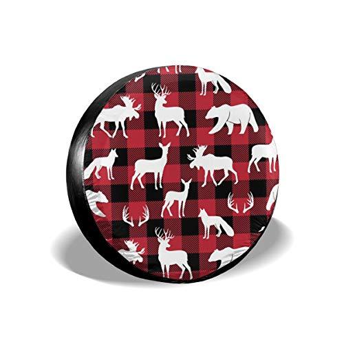 Cocoal-ltd Woodland Animals On Buffalo Plaid Universal Ersatz-Radreifenabdeckung passend für LKW, Wohnmobil, Jeep, Anhänger, Wohnmobil, SUV, Anhängerzubehör, 38,1 cm (Durchmesser 68,6-73,7 cm) Ltd Plaid