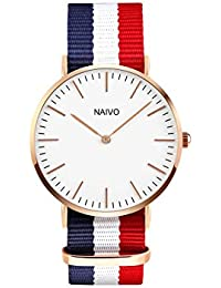 Naivo 18K Rose Gold over Stainless Steel Classic Cambridge Watch Quartz Watch Multicolor Band Daniels Watch