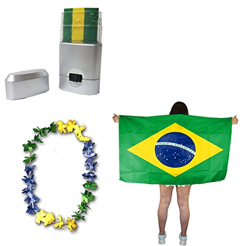 Sonia Originelli Fan-Paket-11 WM EM Fußball Fan Hawaiikette Schminkstift Poncho Farbe Brasilien