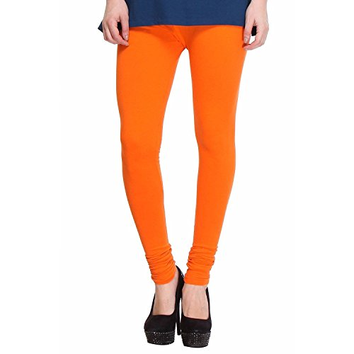 Rooliums ® (Brand Factory Outlet) Women's Premium Cotton Lycra Leggings 160 GSM Orange (Pack Of 1) - FREE SIZE